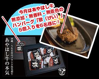 今月はあやはし牛 無添加・無香料・無着色のハンバーグ「敬(けい)」5個入りを6名様に!
