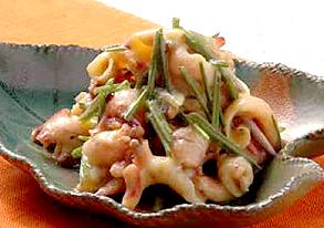 野蒜とこま貝の酢味噌和えの写真